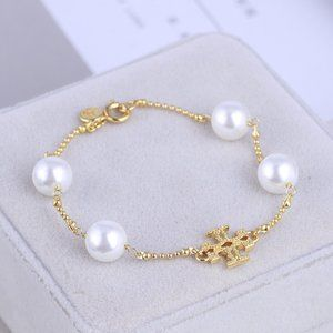 Tory Burch Pearl Metal Cross Logo Fashion Bracelet